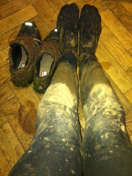 Probably about half a kilo of mud on each leg?!