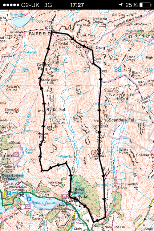 ViewRanger trace of route. Trace went a bit AWOL just after Hart Crag as I followed the ridge!