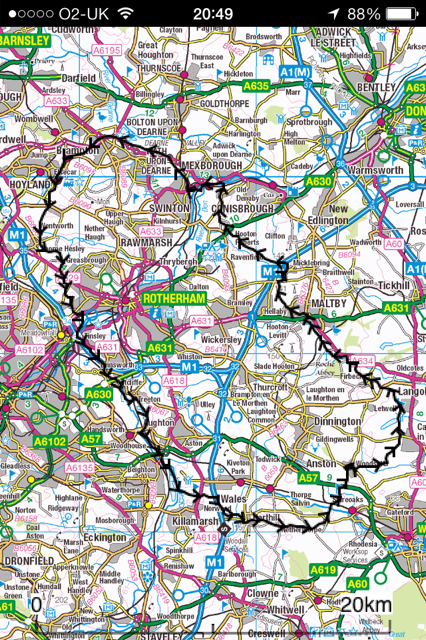 RRR route, Start and Finish at Wath upon Dearne near top of map